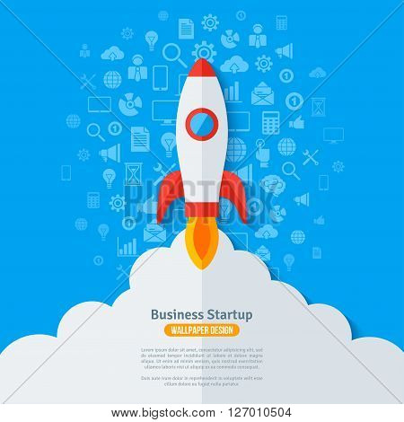 Flying Rocket with Flame and Clouds. Business Icons Pattern Blue Background. Vector illustration. Startup launch Abstract Infographics Concept.