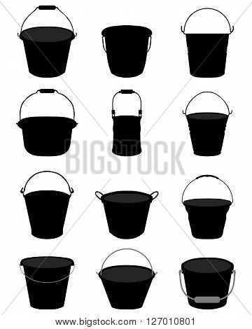 Black silhouettes of garden pail on a white background
