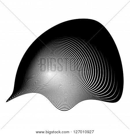 Design monochrome illusion background. Abstract stripe torsion backdrop. Vector-art illustration. No gradient