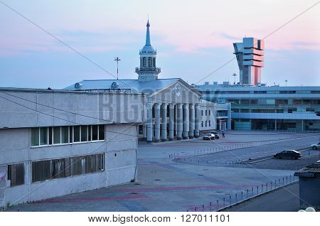 YEKATERINBURG RUSSIA - AUGUST 21 2009. View from height at the VIP business terminal building and flight control tower in Koltsovo International airport.