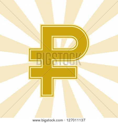 The Russian ruble symbol Golden color with radiating rays on the background. Vector illustration. You can make a seamless background.