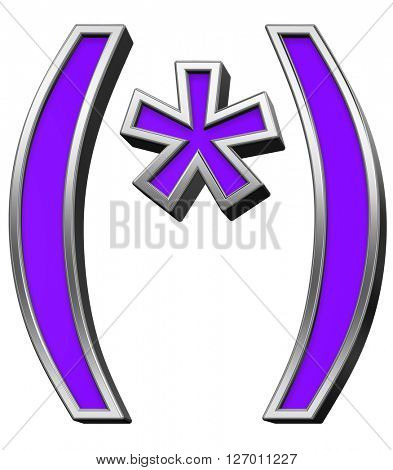 Parenthesis, asterisk from violet with silver frame alphabet set, isolated on white. 3D illustration.