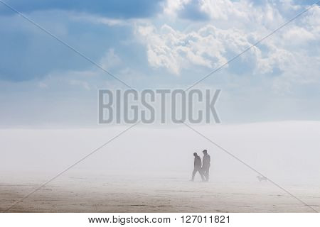 Russia Siberia Novosibirsk region Ob river - April 24 2016: two men and a dog walk in the fog along the river Bank