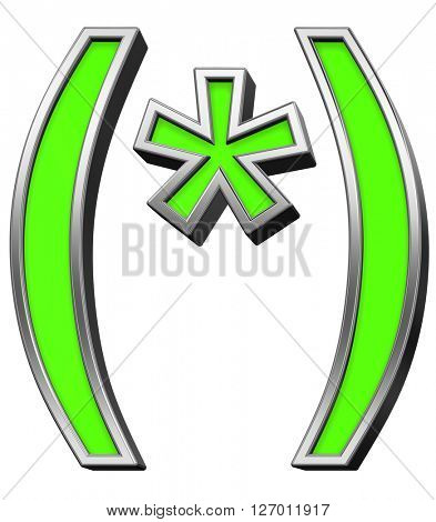 Parenthesis, asterisk from green with silver frame alphabet set, isolated on white. 3D illustration.