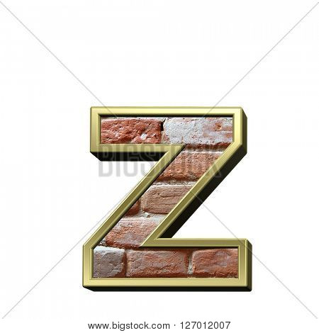 One lower case letter from old brick with gold frame alphabet set, isolated on white. 3D illustration.