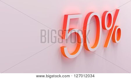3D illustration of percentage numbers discount object