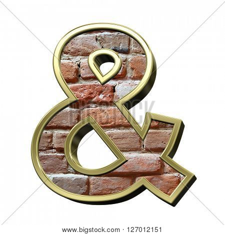 And sign from old brick with gold frame alphabet set, isolated on white. 3D illustration.