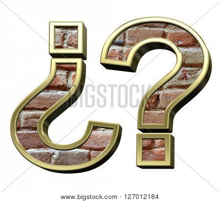 Question mark from old brick with gold frame alphabet set, isolated on white. 3D illustration.
