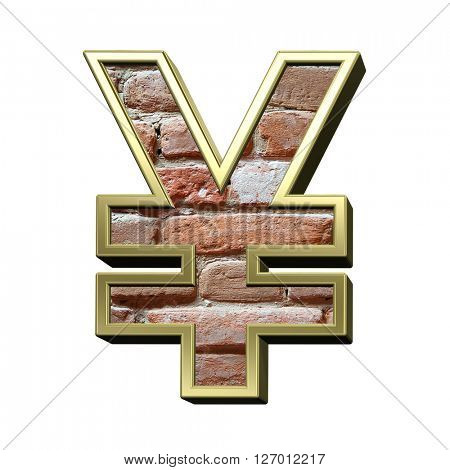 Yen sign from old brick with gold frame alphabet set, isolated on white. 3D illustration.