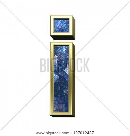 One lower case letter from blue fractal alphabet set isolated over white. 3D illustration,