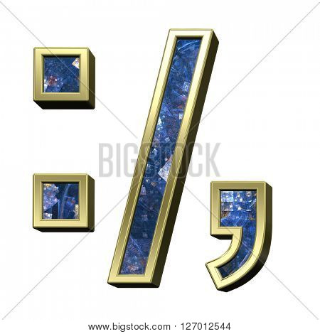 Colon, semicolon, period, comma from blue fractal alphabet set isolated over white. 3D illustration.