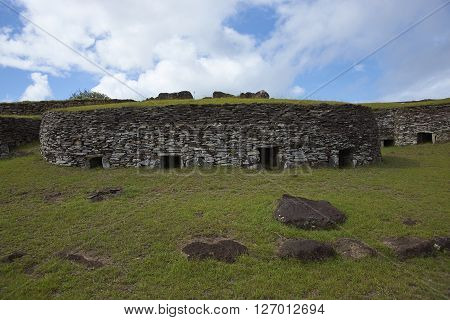 Historic village of Orongo, located on the rim of the extinct volcano Rano Kau on Easter Island.
