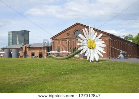 TURKU, FINLAND - JUNE 13, 2015: Giant flower at the exhibition centre
