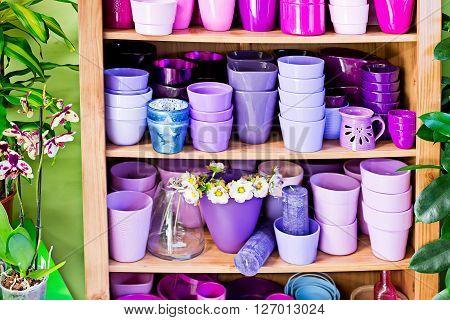 detailo of new violet flowerpots in the market