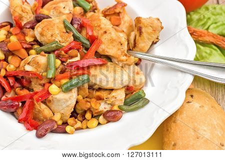 Chicken breast - white meat (chicken meat) with vegetables closeup