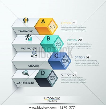 Abstract 3d diagram infographics options. Vector illustration. can be used for workflow layout, banner, number options, step up options, web design.