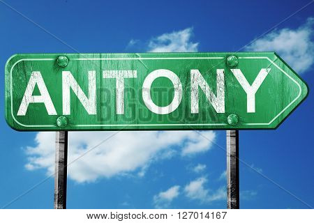 antony road sign, on a blue sky background