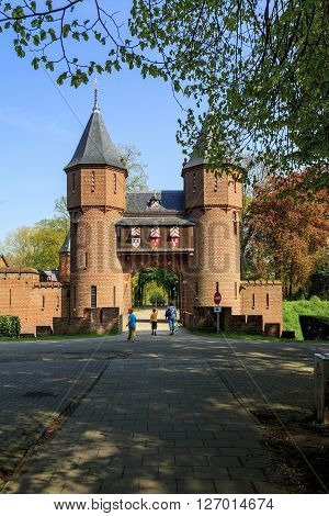 Haarzuilens, Netherlands - May 6: There are channel wall and gate into demesne of the Castle de Haar May 6, 2013 in Haarzuilens, Netherlands.