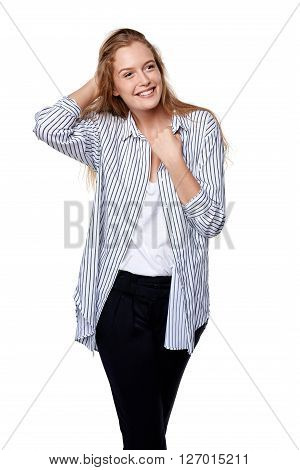 Happy smiling woman looking sideways isolated on white background.
