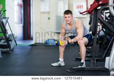 Portrait Of A Strong Fit Man In Gym.