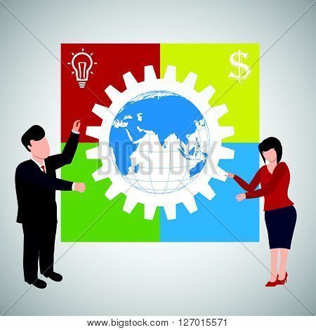 Teamwork Illustration concept of successful partnership.Business people worldwide cooperation.Creative team VECTOR illustration.Infographic business plan.