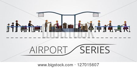 The people stand in a queue for the flight registration desk. Illustration includes icon of people and check-in desk contruction. Airport series