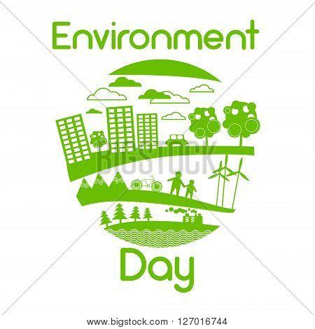 Green City Silhouette Wind Turbine Solar Energy Panel World Environment Day Flat Vector Illustration