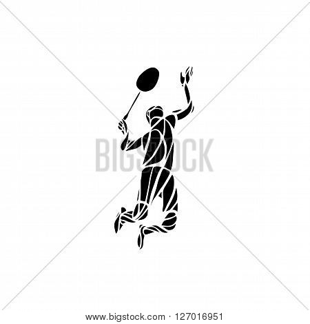 Creative silhouette of professional Badminton player doing smash shot. Vector illustration