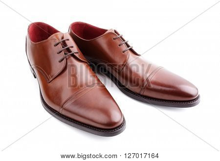 Classic brown mans handcrafted leather shoes isolated on white