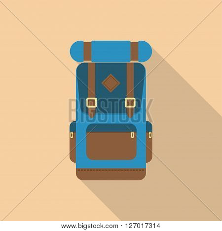 Vector flat modern set of hiking backpacks. Backpack front view.