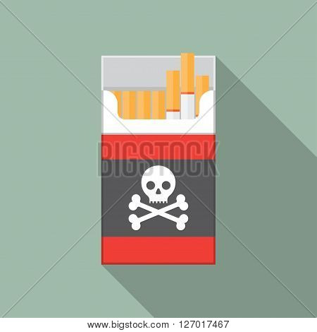 Open cigarettes pack box flat style vector illustration icon logo design idea symbol smoke problem concept narcotic product production tobacco cigarette symbol.