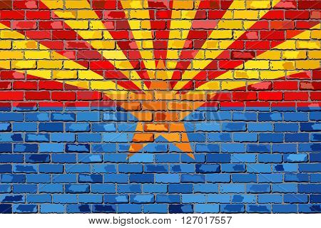 Flag of Arizona on a brick wall - Illustration,  The flag of the state of Arizona on brick textured background,  Arizona Flag painted on brick wall, Arizona Flag in brick style
