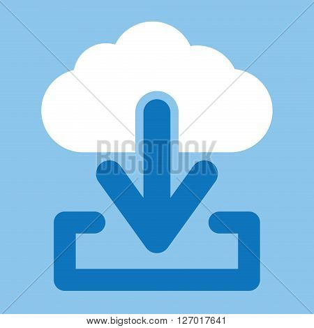 Cloud download vector icon. White Cloud download icon.