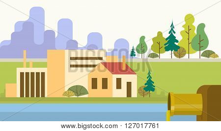 Nature Pollution Plant Pipe Dirty Waste Water Green Environment Flat Vector Illustration
