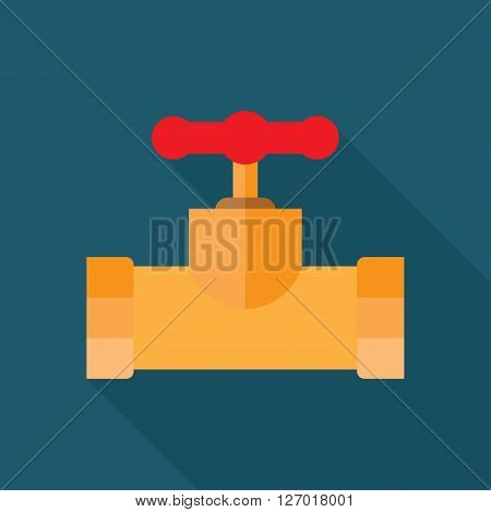 pipe with flange and valve. Vector illustration