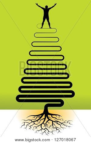 This illustration has a joyful man with tree roots