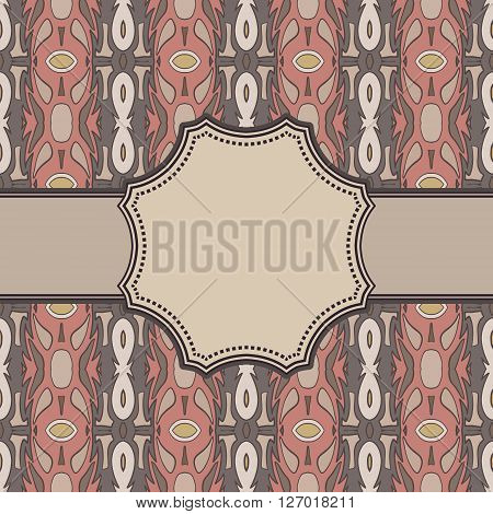 Vintage vector ethnic frame with the text place