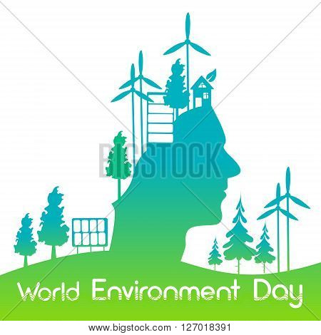 Green Head Silhouette Wind Turbine Solar Energy Panel World Environment Day Banner Flat Vector Illustration