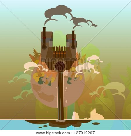 Earth Globe With Plant Dirty Nature Waste Environment Pollution Flat Vector Illustration