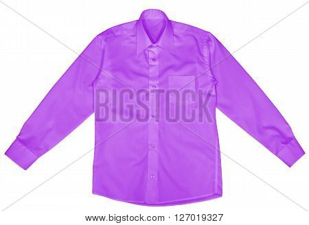 Purple shirt with long sleeves isolated on white background. Clipping path included.
