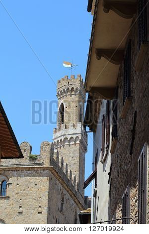 Some details of medieval Italian cities. Classical medieval streets.