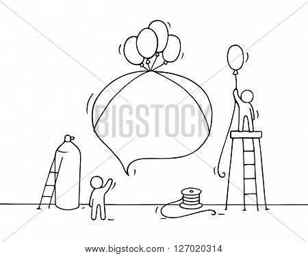 Sketch of speech bubble with working little people. Doodle cute miniature teamwork. Hand drawn cartoon vector illustration for business design and infographic.