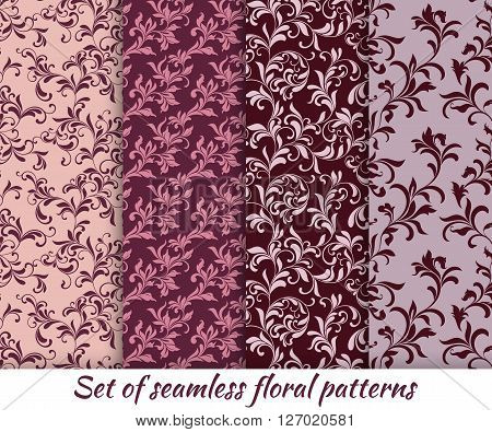 Set Of Floral Seamless Patterns In Vintage Style. It Can Be Used To Create Wallpaper, Textile, Backg