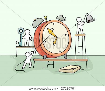 Sketch of alarm clock with working little people. Doodle cute miniature teamwork about deadline. Hand drawn cartoon vector illustration for business design and infographic.