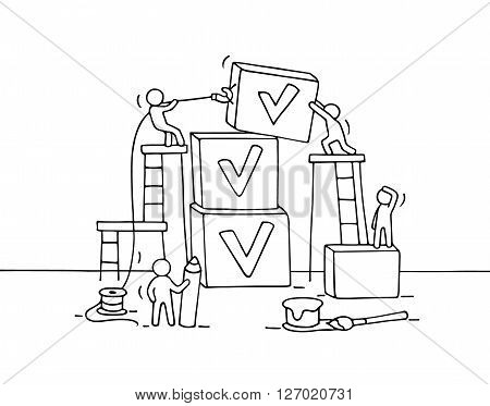 Sketch of working little people with pyramid of cubes tick. Doodle cute miniature teamwork and checklist. Hand drawn cartoon vector illustration for business design and infographic.