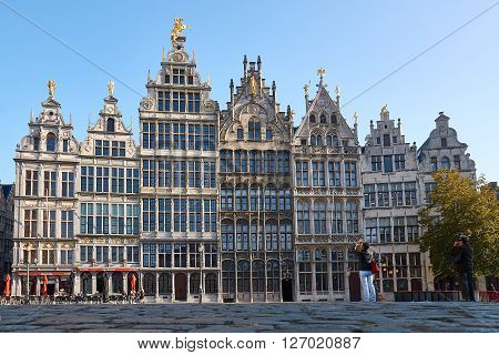 Medieval Guildhouses on Grote Markt in the old town of Antwerp, Belgium