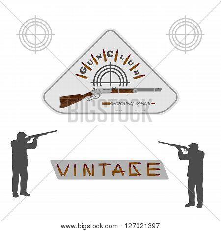 vintage collectible rifle on a white background and the silhouette of men for designers and print. vector illustration