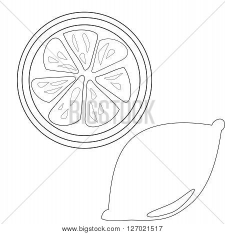 Lemon and lemon slice slice outline for coloring book vector for download isolated on white background
