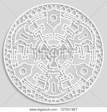 Lacy paper doily decorative doily decorative snowflake mandala embossed pattern arabic ornamentindian ornament 3D vector
