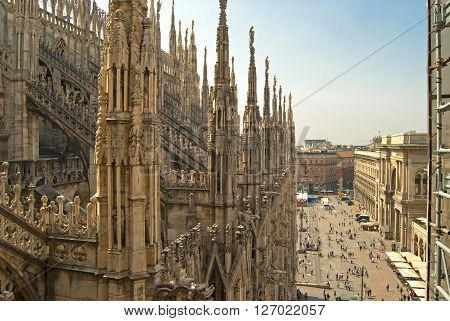 View Of The City From The Duomo Milan, Italy, Sunny Day